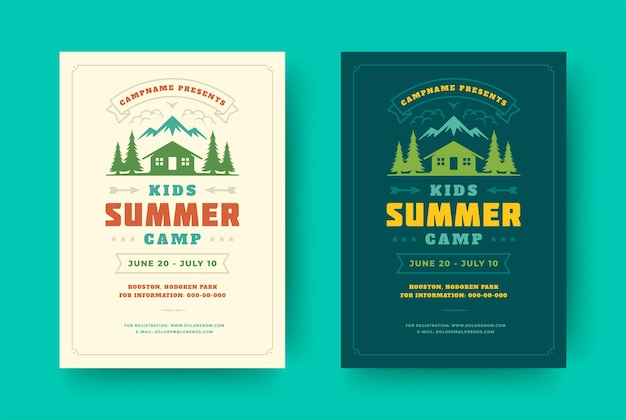 Kinderen zomerkamp poster of flyer evenement retro typografie ontwerpsjabloon