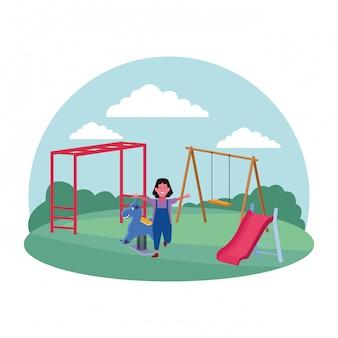 Kinderen zone, gelukkig meisje met schommel dia spring paard speeltuin