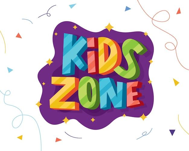 Kinderen zone kleurrijke belettering