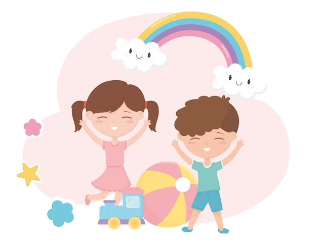 Kinderen zone, schattige kleine jongen en meisje trein bal sterren cartoon speelgoed
