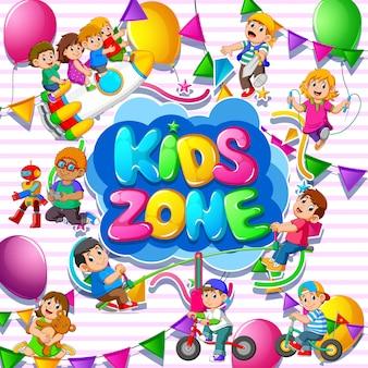Kinderen zone sjabloon met kinderen