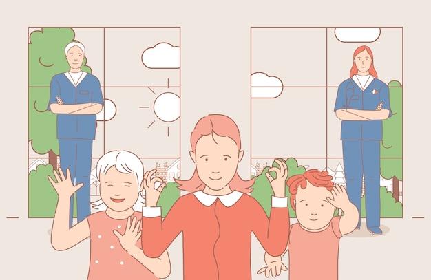 Kinderen zwaaiende handen, man en vrouw in medische uniform staande in de buurt van kids cartoon overzicht illustratie.