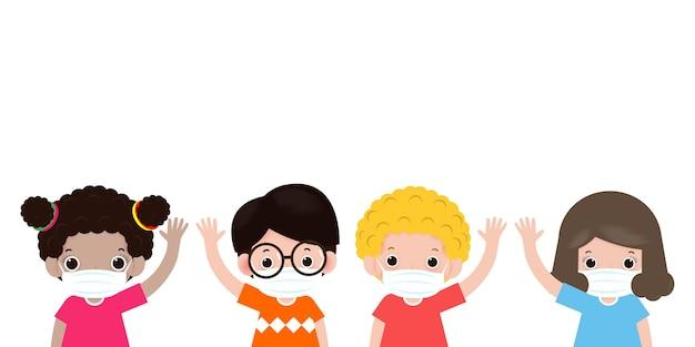 Kinderen zwaaiende handen voor nieuw normaal levensstijlconcept.