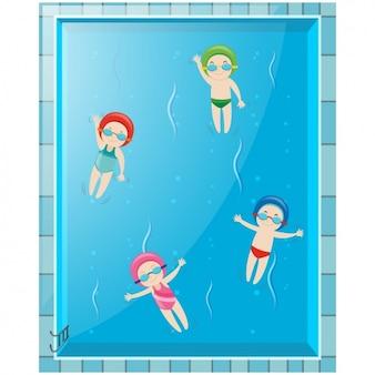Kinderen zwemmen in het zwembad
