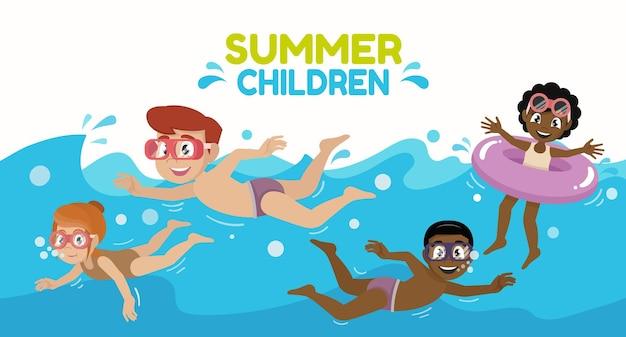 Kinderen zwemmen kinderen spelen in de zomer met een groep vrienden