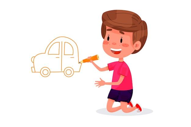 Kinderfiguren tekenen op witte muren. internationale dag voor kinderen. zomeractiviteiten voor kinderen. vector illustraties.