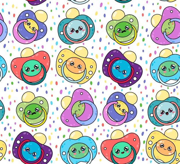 Kinderfopspenen naadloze patroon met schattige kawaii gezichten. tepel pasgeboren kind. apparatuur voor babyverzorging.