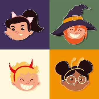 Kindergezichten met kostuums