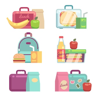 Kinderhapjes. school lunch vakken vector set. container met diner, lunchbox en lunchtijd illustratie