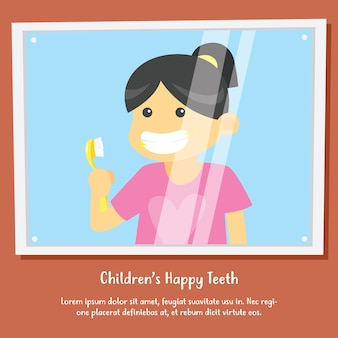 Kinderhygiëne postercampagne. tanden poetsen en mondgezondheid vector posterontwerp
