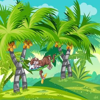 Kinderillustratie van de jungle met een slapende aap.