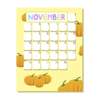 Kinderkalender voor november met rijpe pompoenen in cartoonstijl.