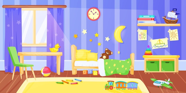 Kinderkamer cartoon voorschoolse kind slaapkamer interieur met meubels en speelgoed illustratie