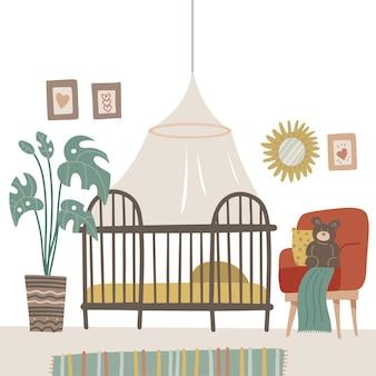 Kinderkamer in pastelkleuren voor de pasgeboren baby