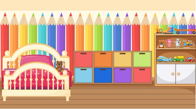 Kinderkamer interieur met meubels