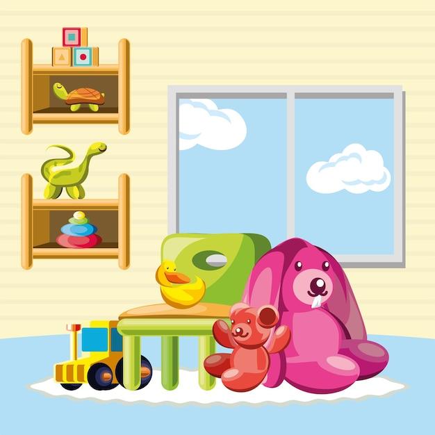 Kinderkamer interieur speelgoed konijn stoel
