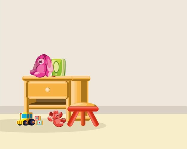 Kinderkamer meubels speelgoed konijn beer