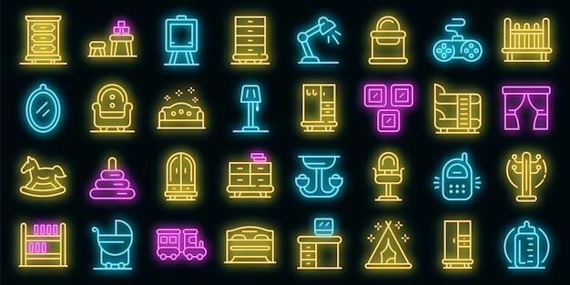 Kinderkamer pictogrammen instellen. overzicht set van kinderkamer vector iconen neon kleur op zwart