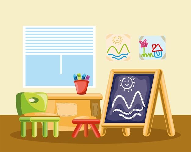 Kinderkamer schoolbord stoel doos speelgoed