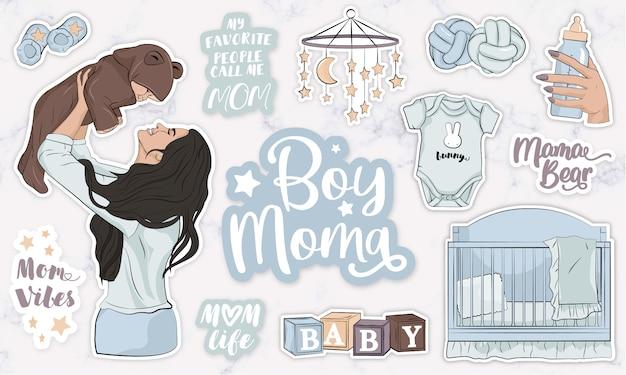 Kinderkamer stickers met moeder met haar zoontje in haar armen