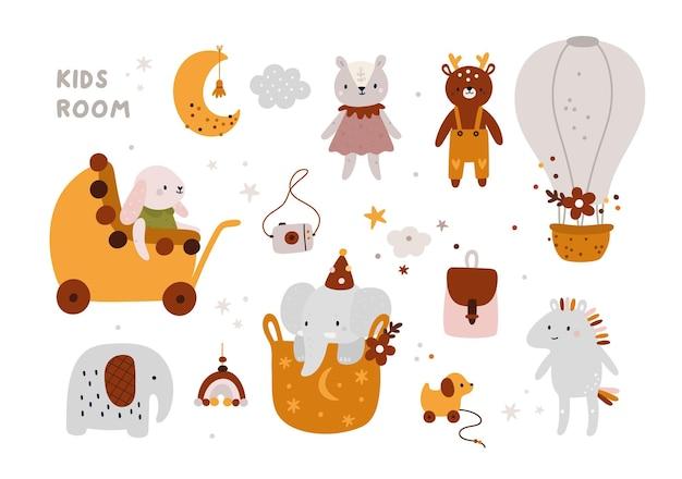 Kinderkamerdecoratie in boho-stijl speelgoed voor pasgeboren jongen of meisje