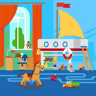 Kinderkamerinterieur met meubels en speelgoed