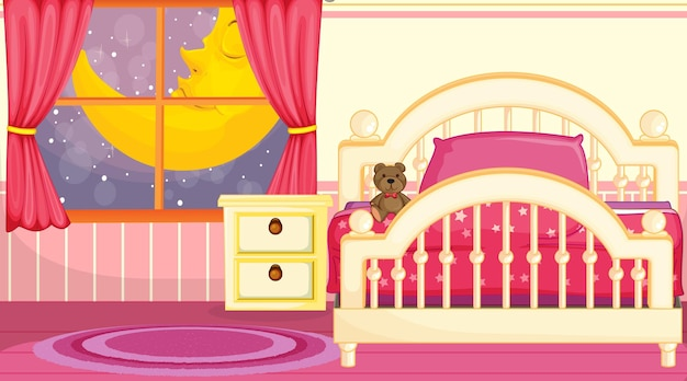 Kinderkamerinterieur met meubels in roze thema