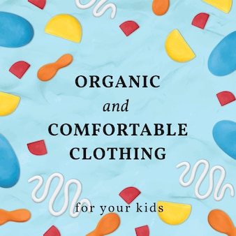 Kinderkleding klei sjabloon vector schattig patroon sociale media advertentie