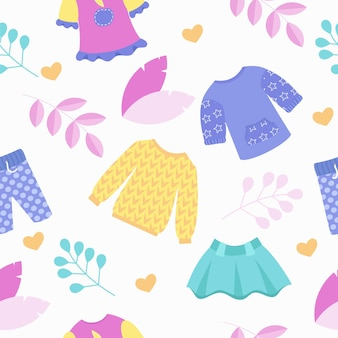 Kinderkledingwinkel naadloos patroon. rok, trui en broek in leuke kleurtjes. vector illustratie