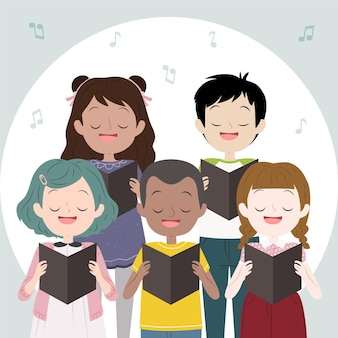 Kinderkoor dat samen zingt