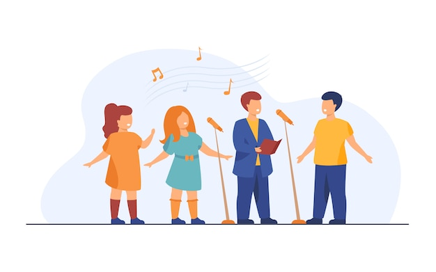 Kinderkoor zingen lied in kerk vlakke afbeelding