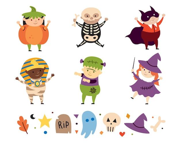 Kinderkostuums van griezelige halloween-personages vampierheks skelet pompoen mummie frankenstein