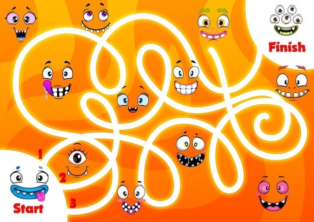 Kinderlabyrintspel met grappige monstersgezichten