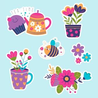 Kinderlijke stickerscollectie voor de lente