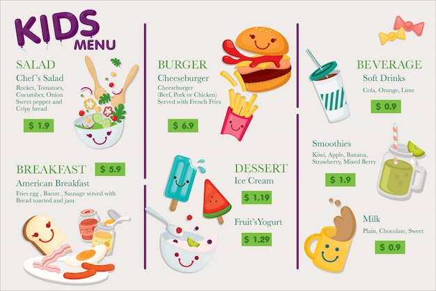 Kindermenu. veel schattig menu voor kinderen in uw restaurant.