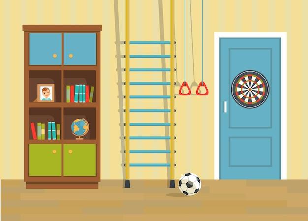 Kinderopvang. deur, boekenkast en sportuitrusting.