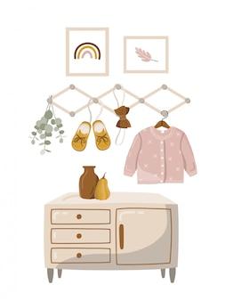 Kinderposter met kamer en kleding.