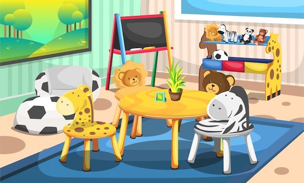 Kinderschool speelkamer met dieren- en natuurtijd, krijtbord, leeuwen, zebra's, teddyberen en giraffenstoelen voor illustratie ideeën voor interieurontwerp
