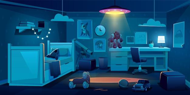 Kinderslaapkamer voor jongen bij nacht