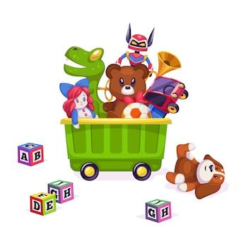 Kinderspeelgoed doos. speelgoed kind kinderspel beer piramide bal trein jacht paard pop eend boot vliegtuig auto konijn