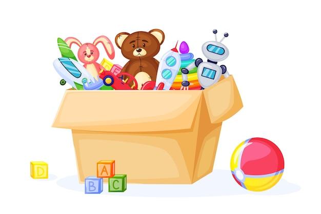Kinderspeelgoed in kartonnen doos cartoon bal teddybeer raket vliegtuig blokken vector set
