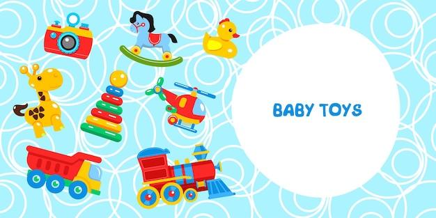 Kinderspeelgoed. inclusief giraf, camera, helikopter, eend, piramide, locomotief, kiepwagen. vectorillustratie met plaats voor tekst.