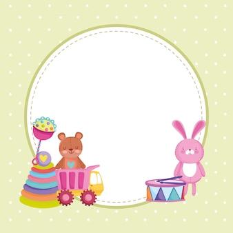 Kinderspeelgoed, konijn beer drum label