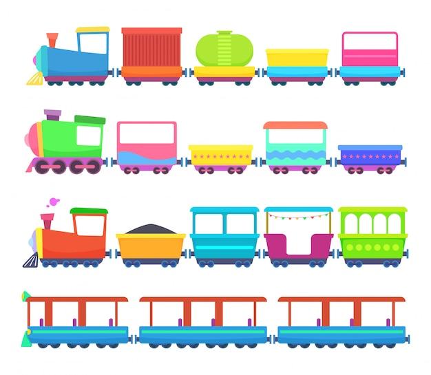 Kinderspeelgoed. miniaturen van gekleurde cartoontreinen