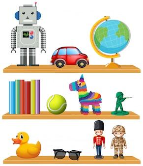 Kinderspeelgoed op plank