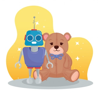 Kinderspeelgoed, teddybeer en robot