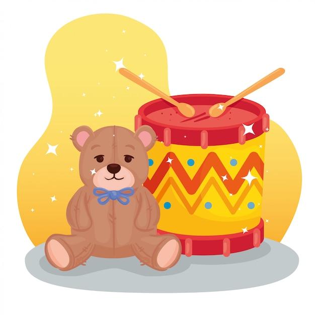 Kinderspeelgoed, trommel met teddybeer
