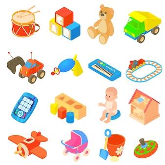 Kinderspeelgoedpictogrammen in vlakke stijl worden geplaatst die