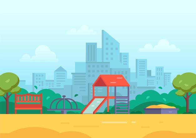 Kinderspeelplaats in een moderne vectorillustratie van de grote stad