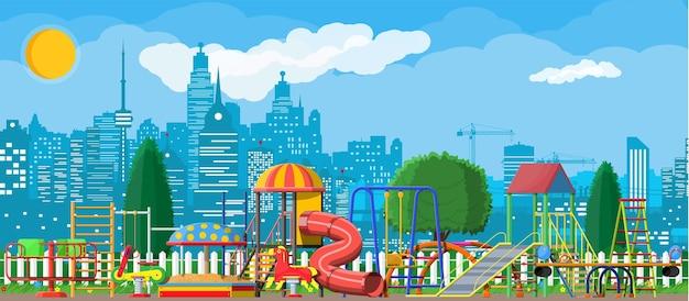 Kinderspeelplaats kleuterschool panorama.